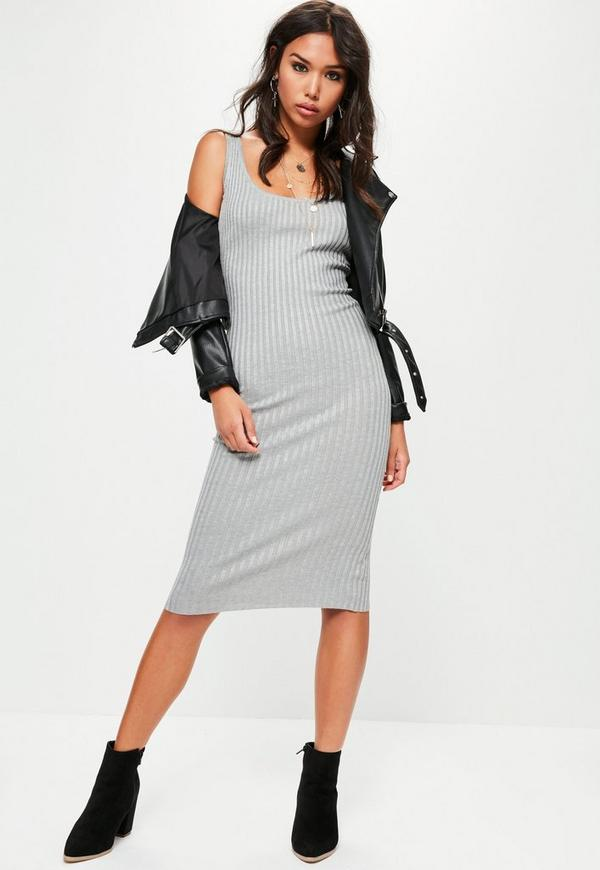 Grey Ribbed Cami Midi Knitted Dress