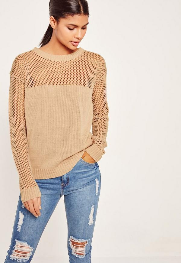 Open Stitch Jumper Camel