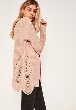 Distressed Slouchy Cardigan Pink