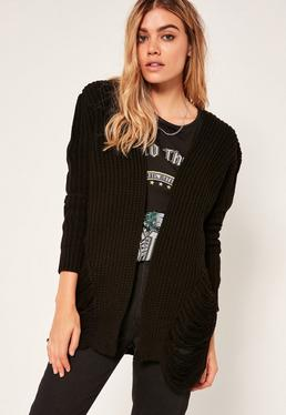 Distressed Slouchy Cardigan Black