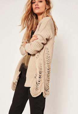 Distressed Slouchy Cardigan Nude