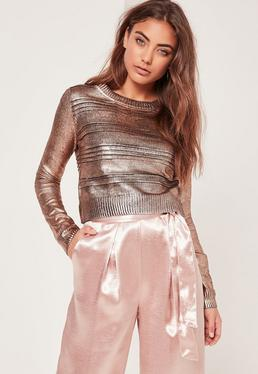 Rose Gold Foil Cropped Sweater