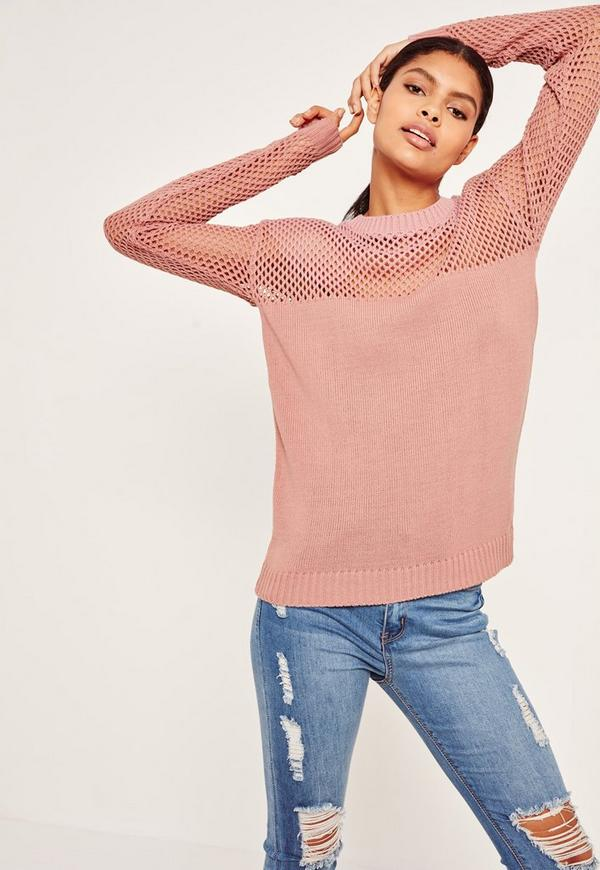Open Stitch Jumper Pink