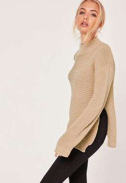 Funnel Neck Rib Stitch Jumper Camel