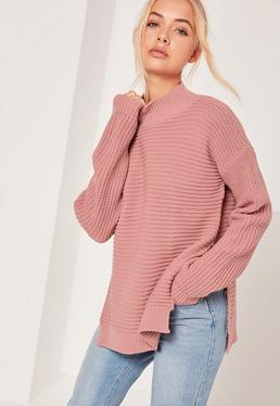 Pink Funnel Neck Ribbed Stitch Sweater