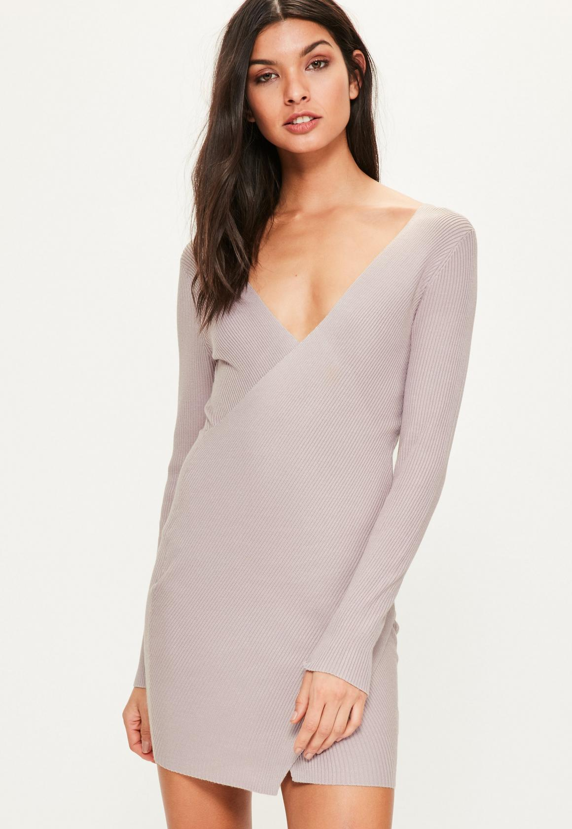 Pink Ribbed Wrap Over Mini Knitted Sweater Dress | Missguided