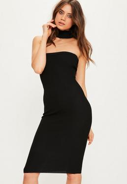 Black Choker Ribbed Knitted Midi Dress