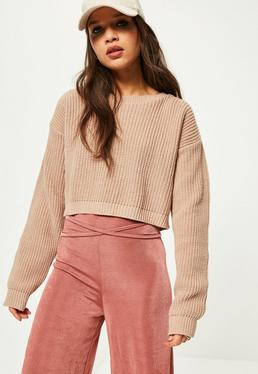 Camel Basic Cropped Jumper