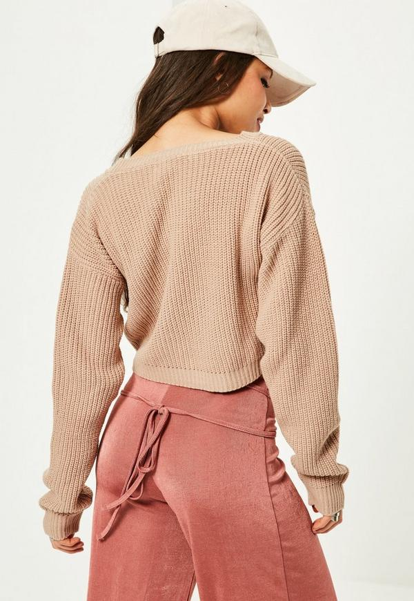 Camel Basic Cropped Sweater | Missguided