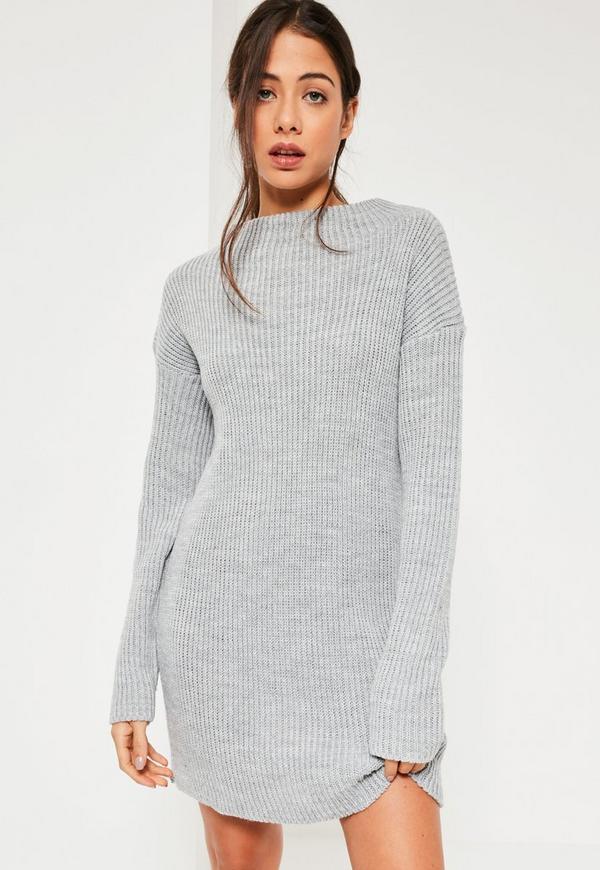 Grey High Neck Knitted Mini Dress