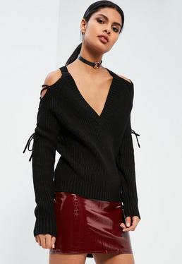 Black Lace Up Cold Shoulder Chunky Stitch Jumper