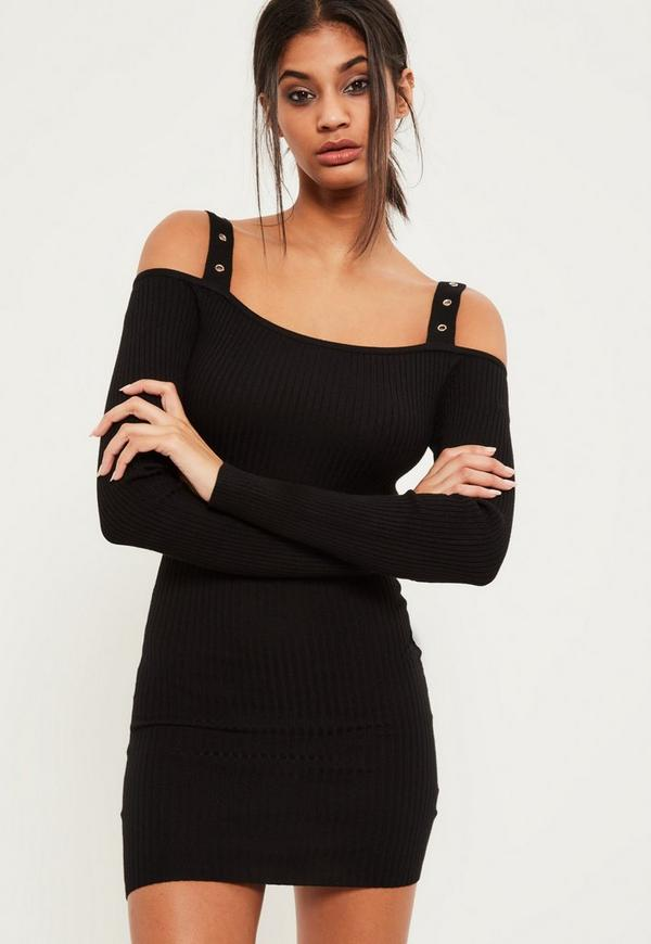 Black Supported Bardot Ribbed Jumper Dress