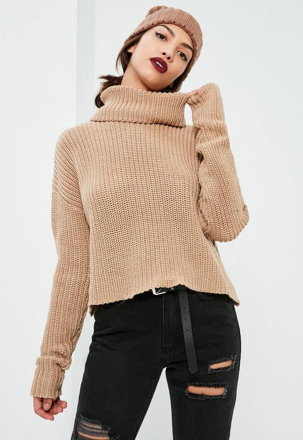 Nude Chunky Roll Neck Jumper