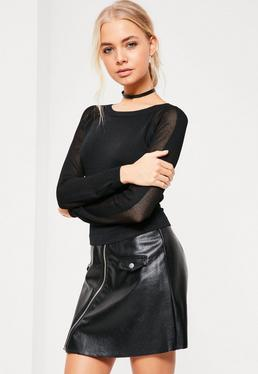 Black Mesh Sleeve Cropped Jumper