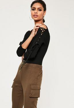 Black Lace Up Bardot Sleeve Bodysuit