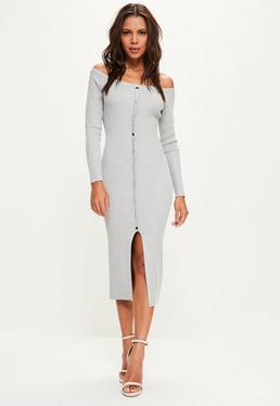 Grey Bardot Popper Ribbed Knitted Midi Jumper Dress