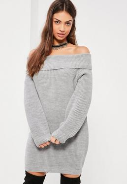 Grey Bardot Chunky Mini Sweater Dress