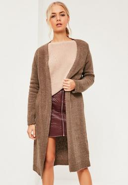 Brown Slouchy Boucle Edge To Edge Cardigan