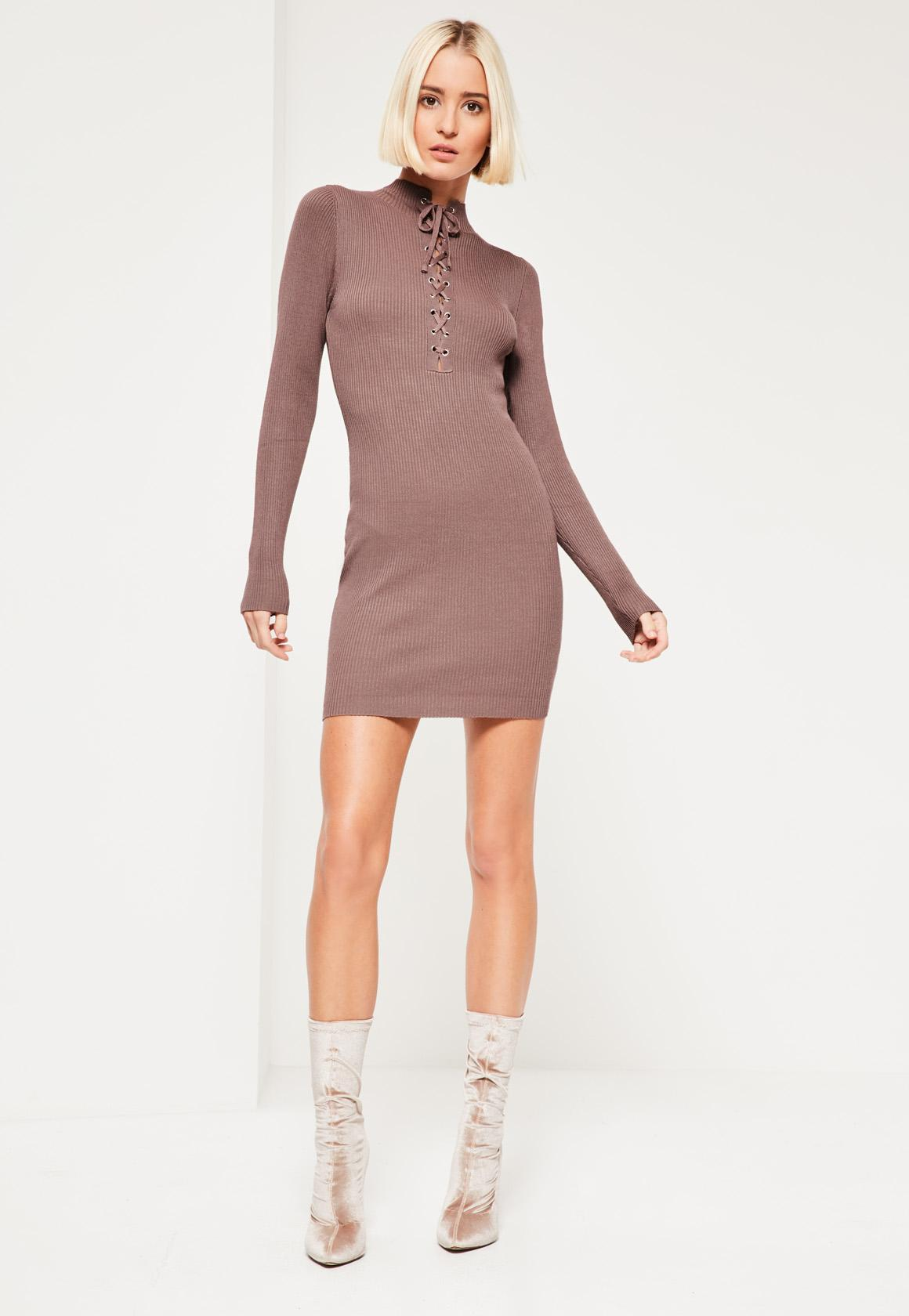 Purple Lace Up Front Mini Dress