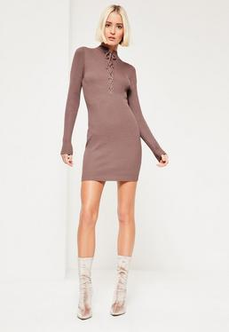 Purple Lace Up Front Mini Sweater Dress