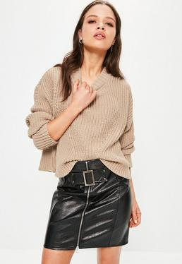 Nude High Neck Ribbed Jumper