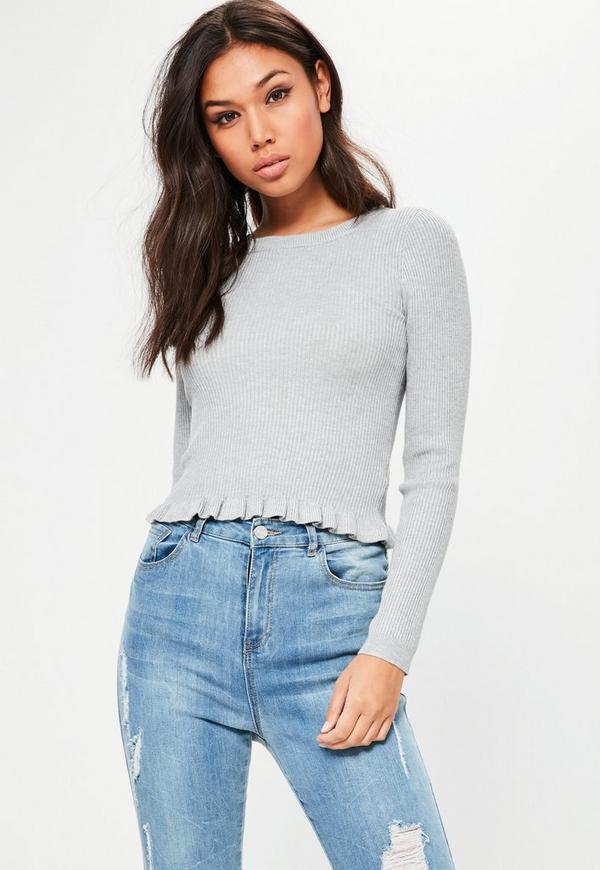 Grey Ribbed Frill Cropped Jumper