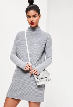 Grey Mix Stitch Funnel Neck Sweater Dress