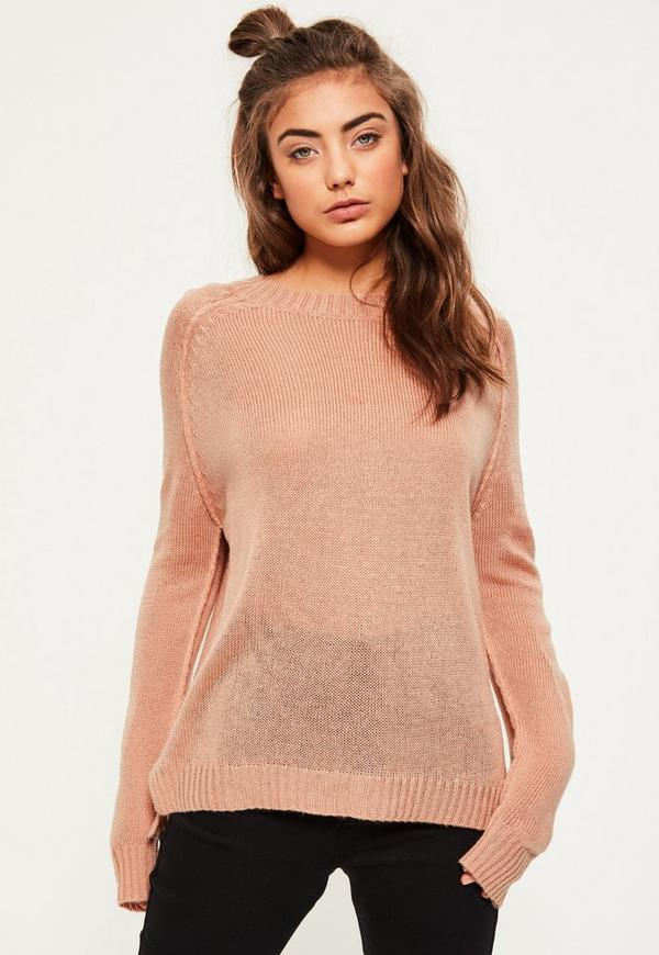 Nude Exposed Seams Raglan Jumper