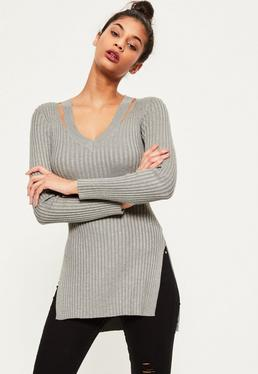 Grey V Neck Ribbed Knitted Tunic Top