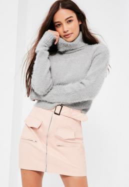 Grey Fluffy Roll Neck Cropped Jumper