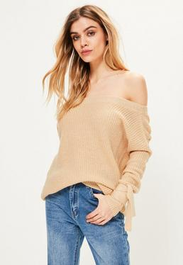 Camel Ribbed Bardot Knitted Jumper