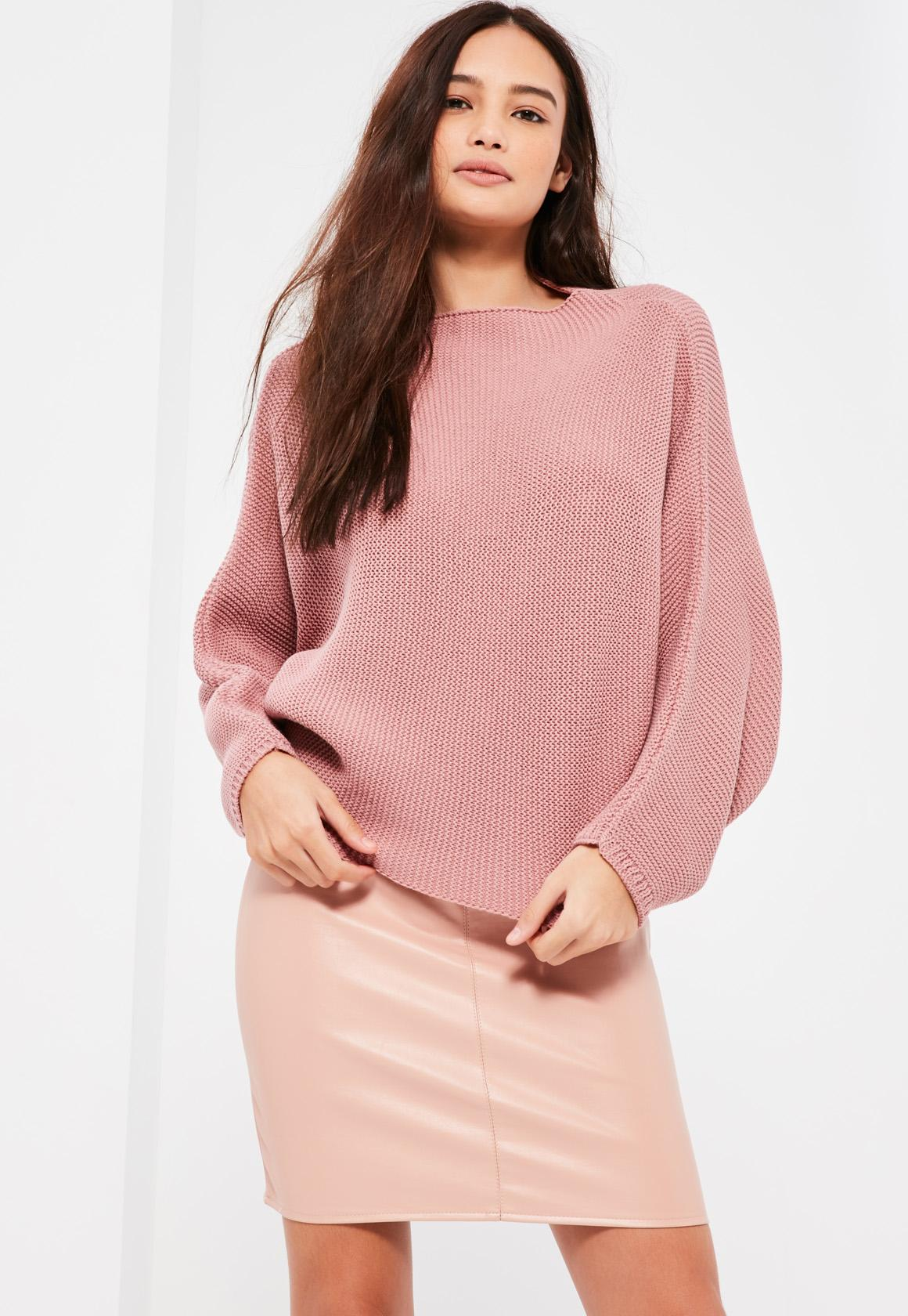 Pink Batwing Cropped Sweater   Missguided