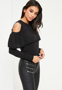 Black Ruffle Cold Shoulder Jumper