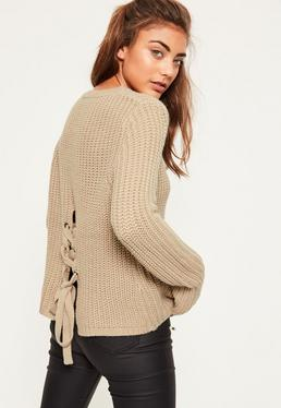 Nude Waffle Knit Chunky Lace Up Back Jumper