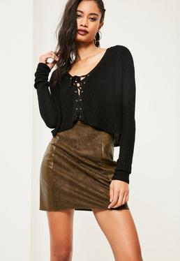 Black Slouchy Lace Up Knitted Crop Jumper