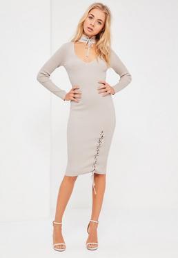 Grey Choker Neck Lace Up Midi Dress