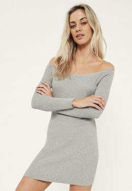 Grey Off The Shoulder Knitted Ribbed Sweater Dress