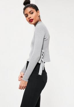 Grey Tie Side Ribbed Crop Top