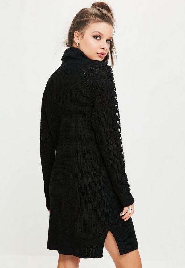 Black Ring Detail Roll Neck Mini Jumper Dress