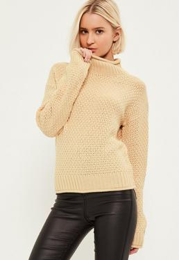 Pull nude cosy col montant