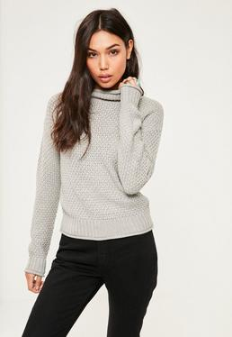 Grey Cozy High Neck Jumper