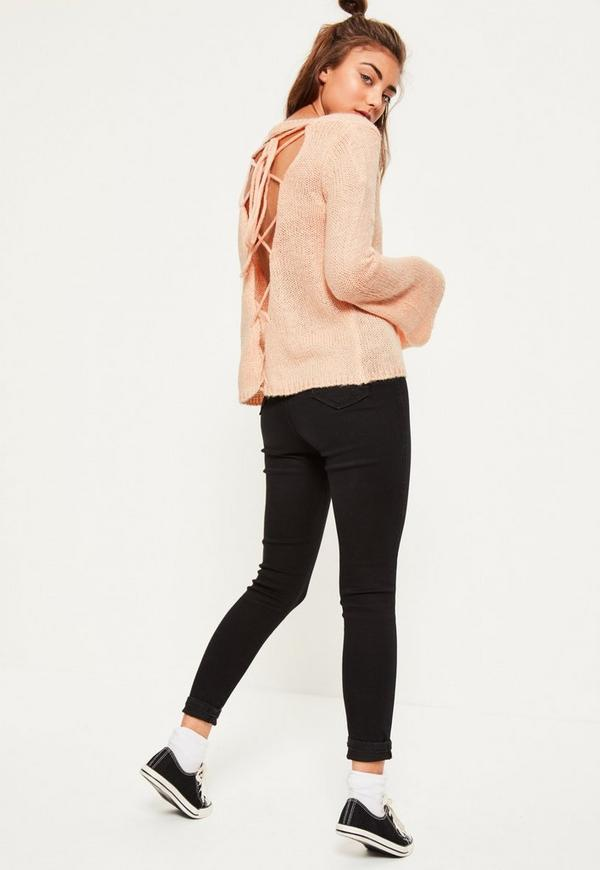 Pink Soft Knit Lace Up Back Jumper