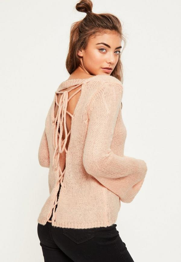 Pink Soft Knit Lace Up Back Sweater | Missguided