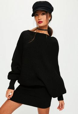 Black Slouchy Batwing Mini Knitted Dress