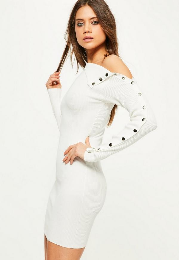 White Knitted Button Sleeve Mini Jumper Dress