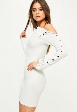 White Knitted Button Sleeve Mini Sweater Dress