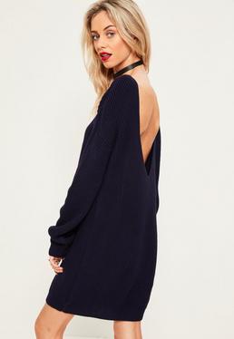 Blue V Back Sweater Dress