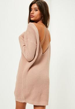 Pink V Back Knitted Sweater Dress