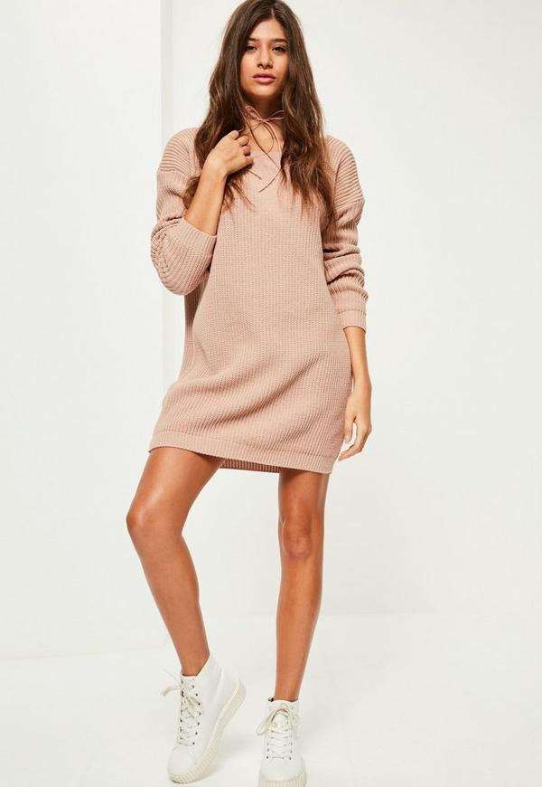 Robe pull rose dos chancr missguided - Robe dos echancre ...