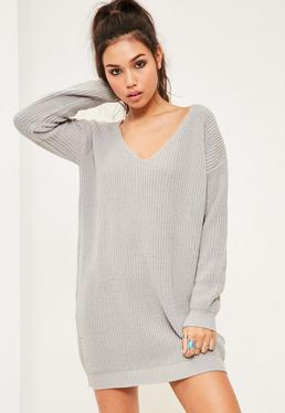 Grey V Neck Slouch Sweater Dress